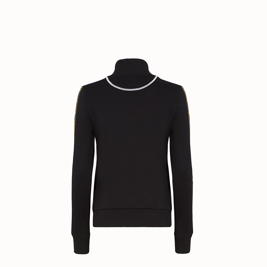 FENDI SWEATSHIRT WITH ZIP - Black cotton jersey sweatshirt - view 2 detail