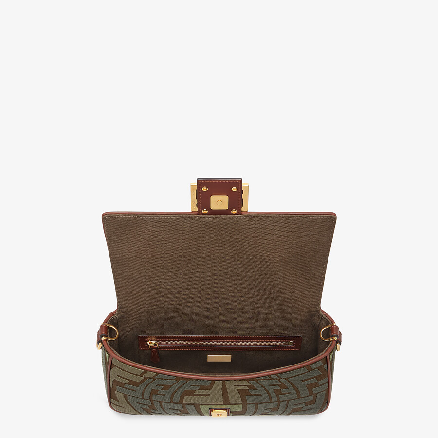 FENDI BAGUETTE - Embroidered green canvas bag - view 5 detail