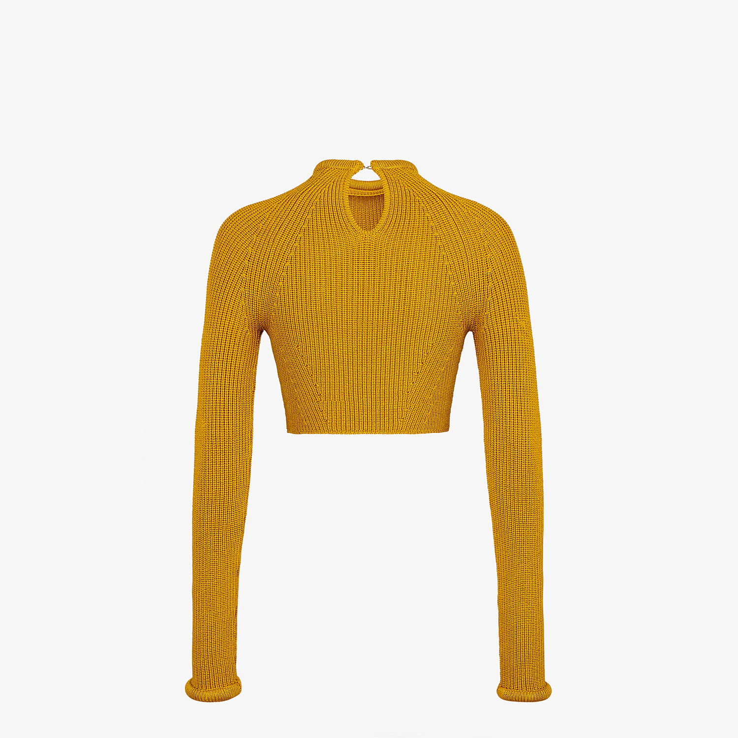FENDI JUMPER - Yellow silk pullover - view 2 detail