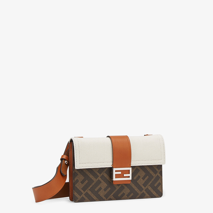 FENDI BAGUETTE POUCH - Brown fabric bag - view 2 detail