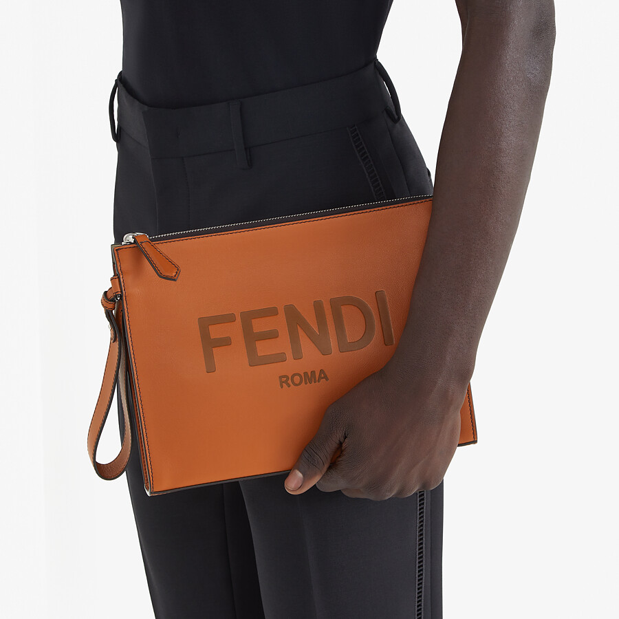 FENDI FLAT POUCH - Brown leather pouch - view 6 detail