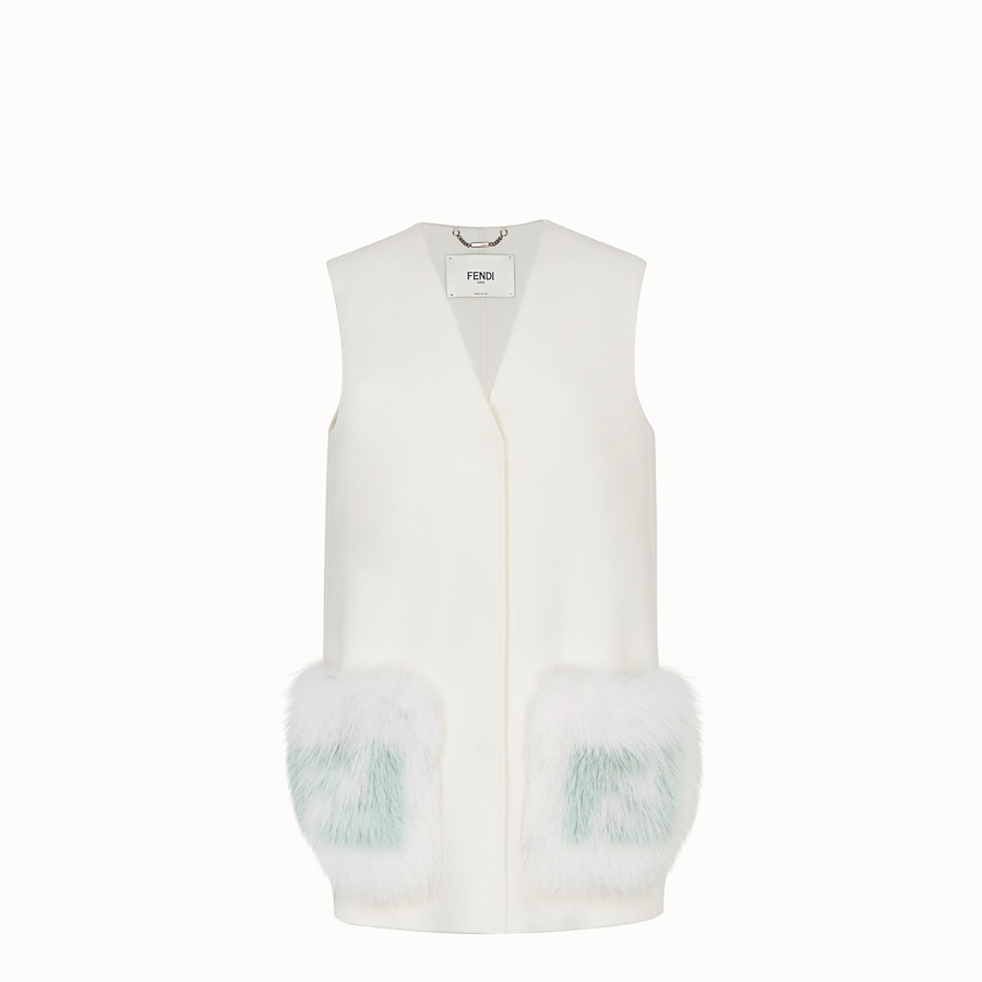 FENDI GILET - White wool gilet - view 1 detail