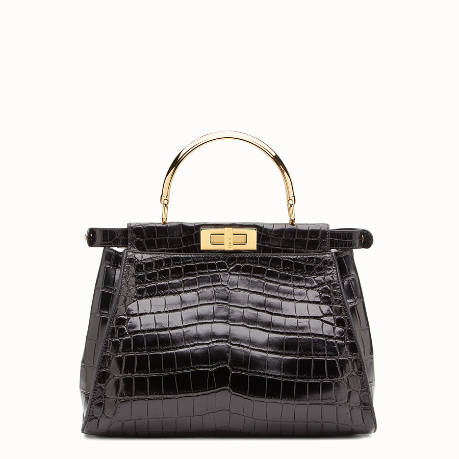 FENDI PEEKABOO REGULAR - Black crocodile leather handbag. - view 3 detail