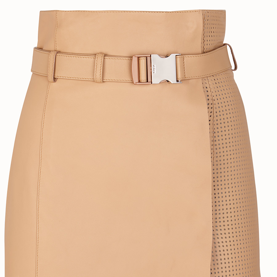 FENDI SKIRT - Beige nappa leather skirt - view 3 detail
