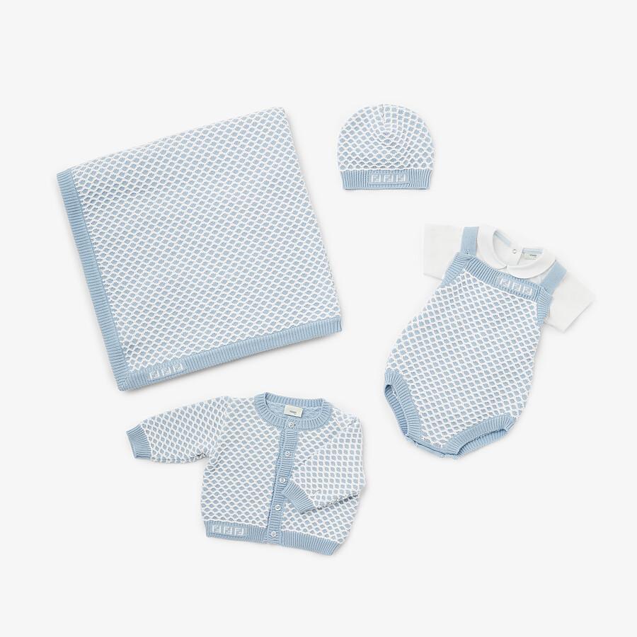 FENDI BONNET POUR BÉBÉ - Bonnet bébé en maille bleu ciel - view 4 detail