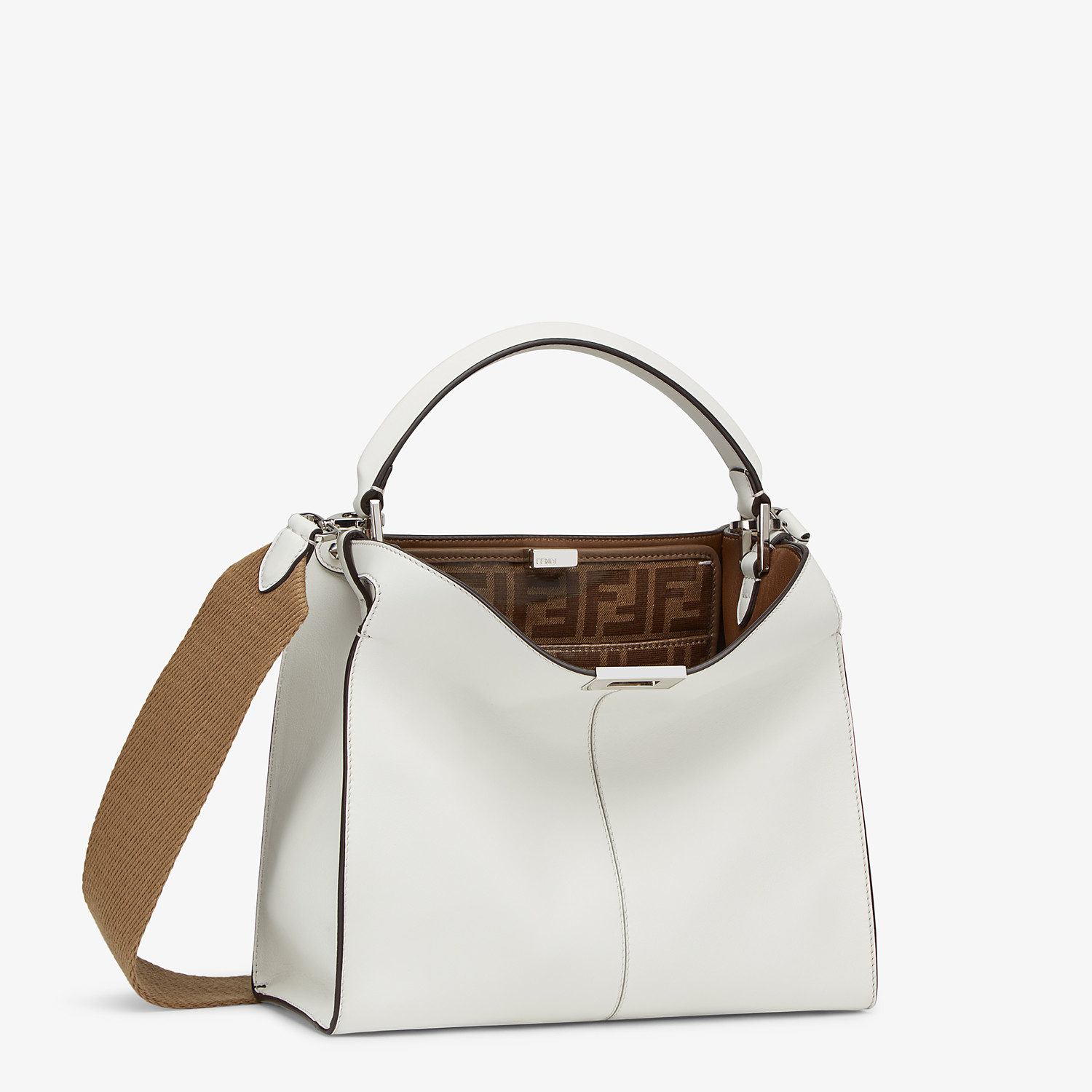 FENDI MEDIUM PEEKABOO X-LITE - White leather bag - view 4 detail