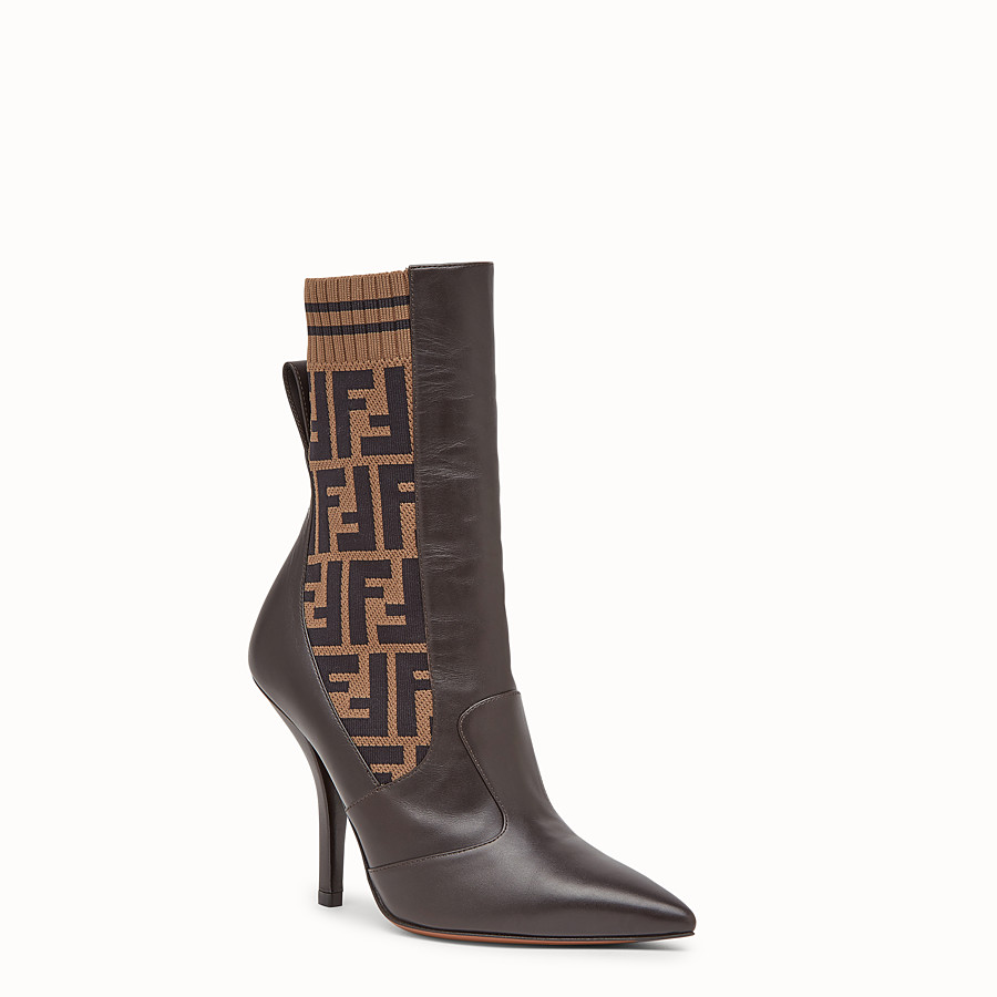 FENDI BOOTS - Brown leather booties - view 2 detail
