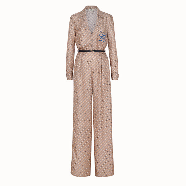 FENDI JUMPSUIT - Beige silk tracksuit - view 1 small thumbnail
