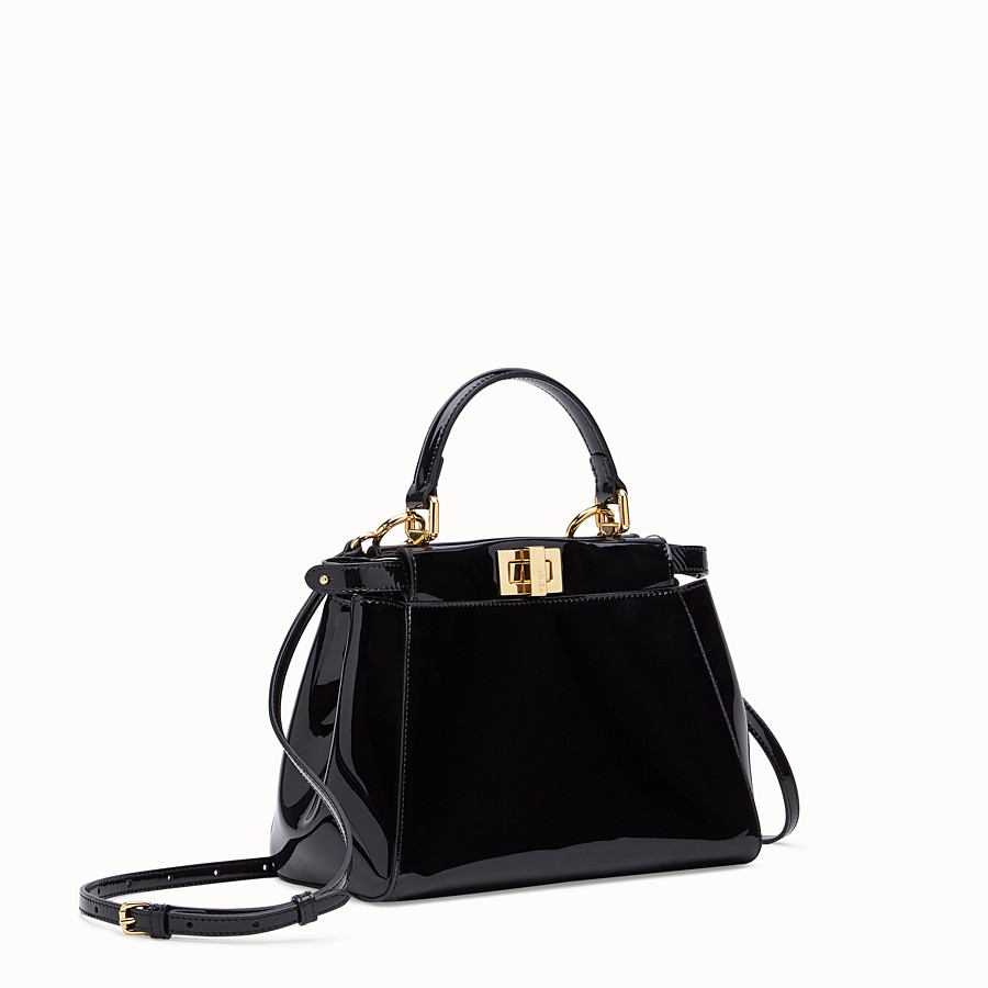 FENDI PEEKABOO ICONIC MINI - Black patent leather bag - view 3 detail