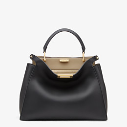 FENDI PEEKABOO ICONIC ESSENTIAL - Black and beige leather handbag - view 1 thumbnail