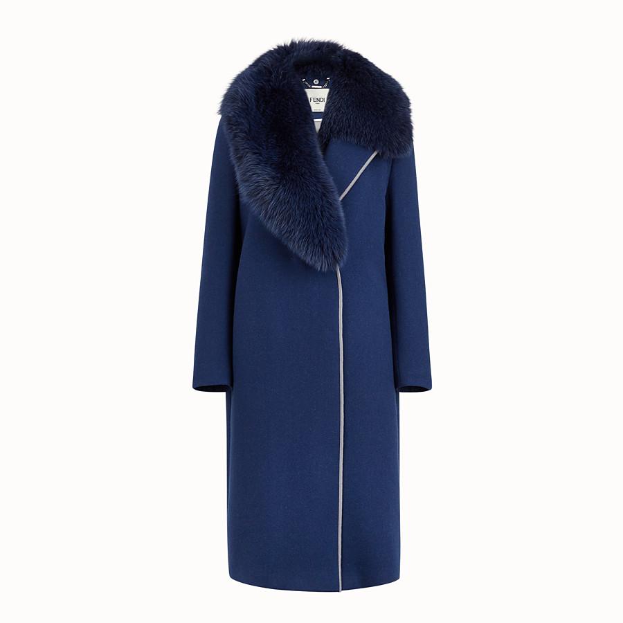 FENDI OVERCOAT - Blue wool coat - view 1 detail