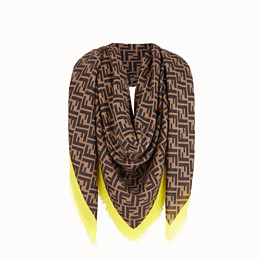 FENDI FF SHAWL - Brown-coloured shawl in cashmere and silk - view 2 thumbnail