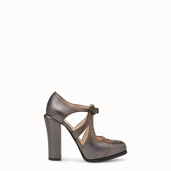 FENDI PUMPS - Charcoal leather cut-out pumps - view 1 small thumbnail