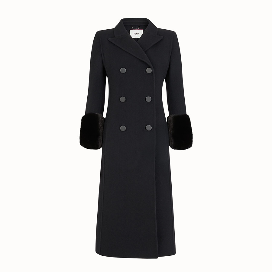 FENDI OVERCOAT - Black wool coat - view 1 detail