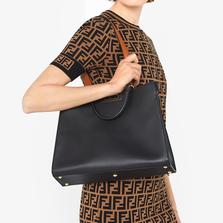 FENDI SMALL PEEKABOO X-TOTE - Black leather bag - view 7 detail
