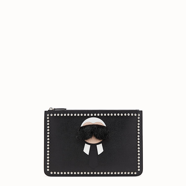 FENDI KARLITO POUCH - in elite leather with inlay - view 1 small thumbnail