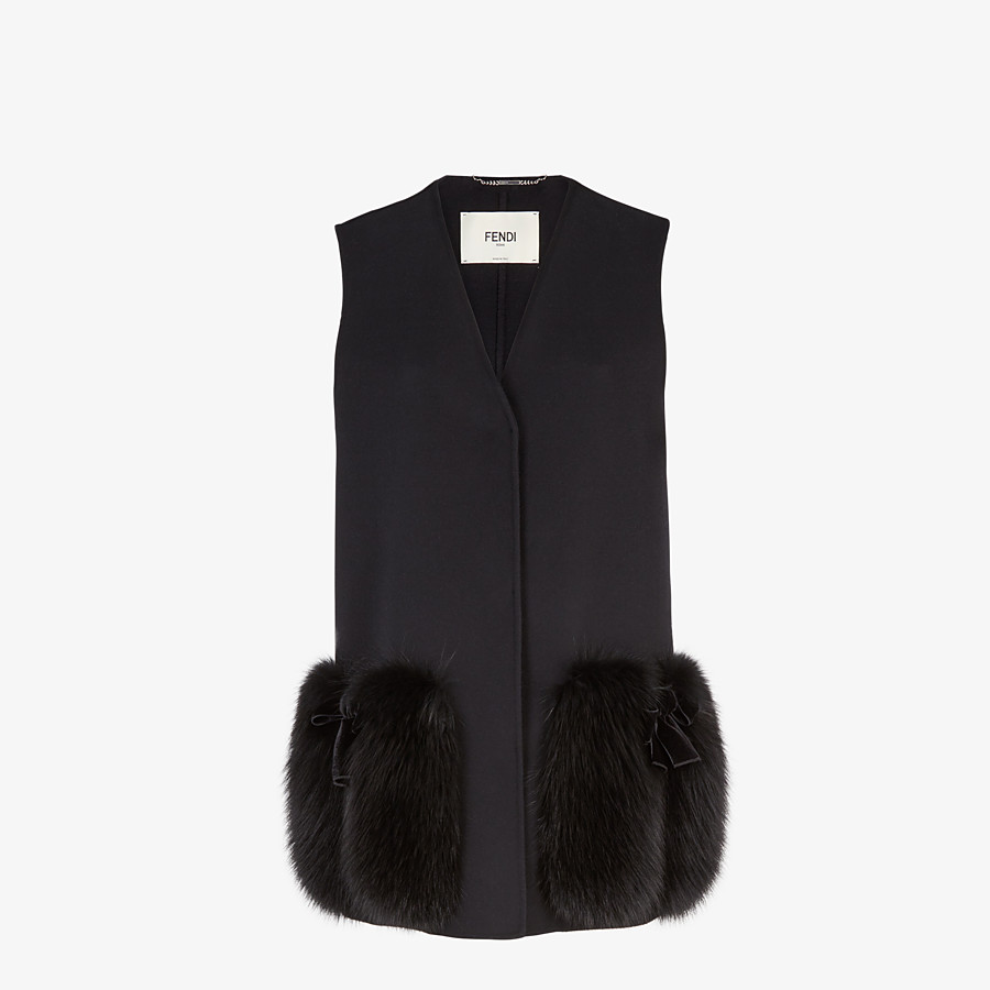 FENDI GILET - Black wool gilet - view 1 detail