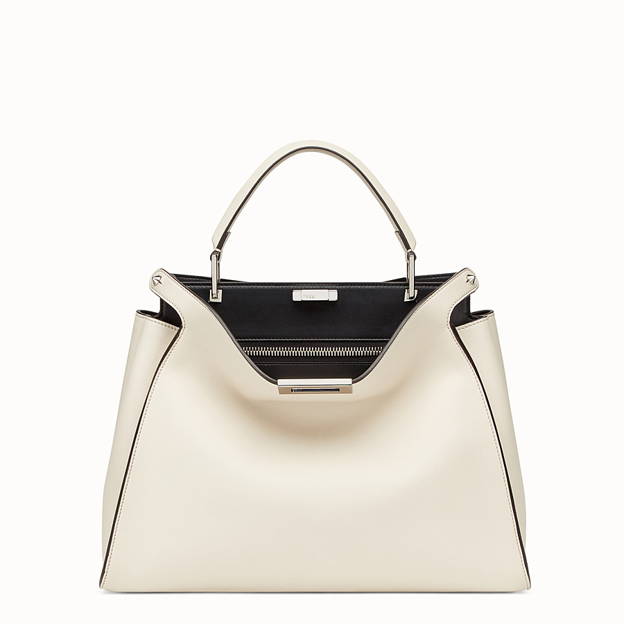 FENDI PEEKABOO ESSENTIAL - White leather bag - view 1 detail