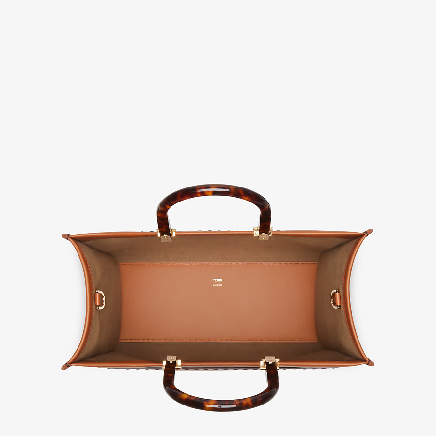 FENDI FENDI SUNSHINE MEDIUM - Brown leather shopper - view 5 detail
