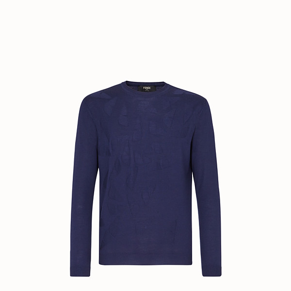 FENDI SWEATER - Blue wool sweater - view 1 small thumbnail