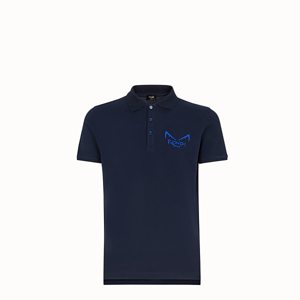 FENDI T-SHIRT - Blue piqué polo shirt - view 1 small thumbnail
