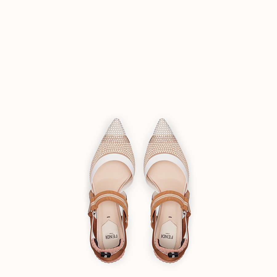 FENDI COURT SHOES - Beige mesh slingbacks - view 4 detail