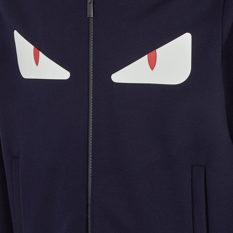 FENDI SWEATSHIRT - Blue cotton and wool sweatshirt - view 3 detail