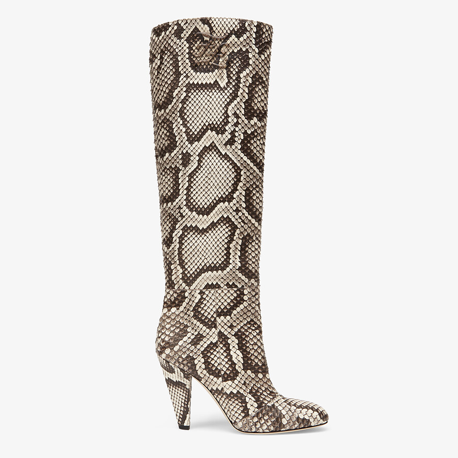 FENDI KARLIGRAPHY - High-heeled boots in brown python - view 1 detail