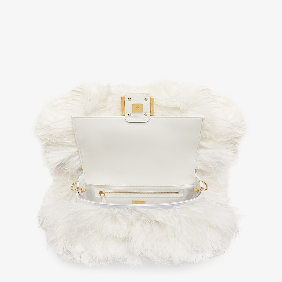 FENDI BAGUETTE - White nappa leather and feather bag - view 4 detail