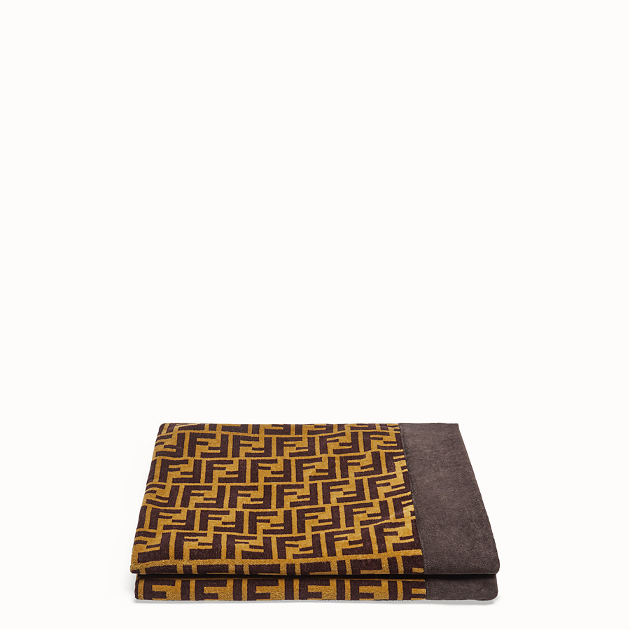 FENDI BEACH TOWEL - Brown cotton beach towel - view 1 detail
