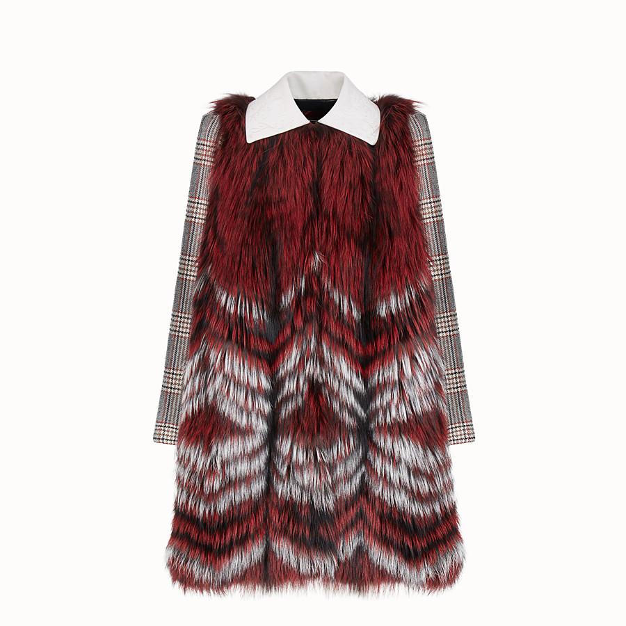 FENDI CAPE - Multicolour fabric and fur cape - view 1 detail