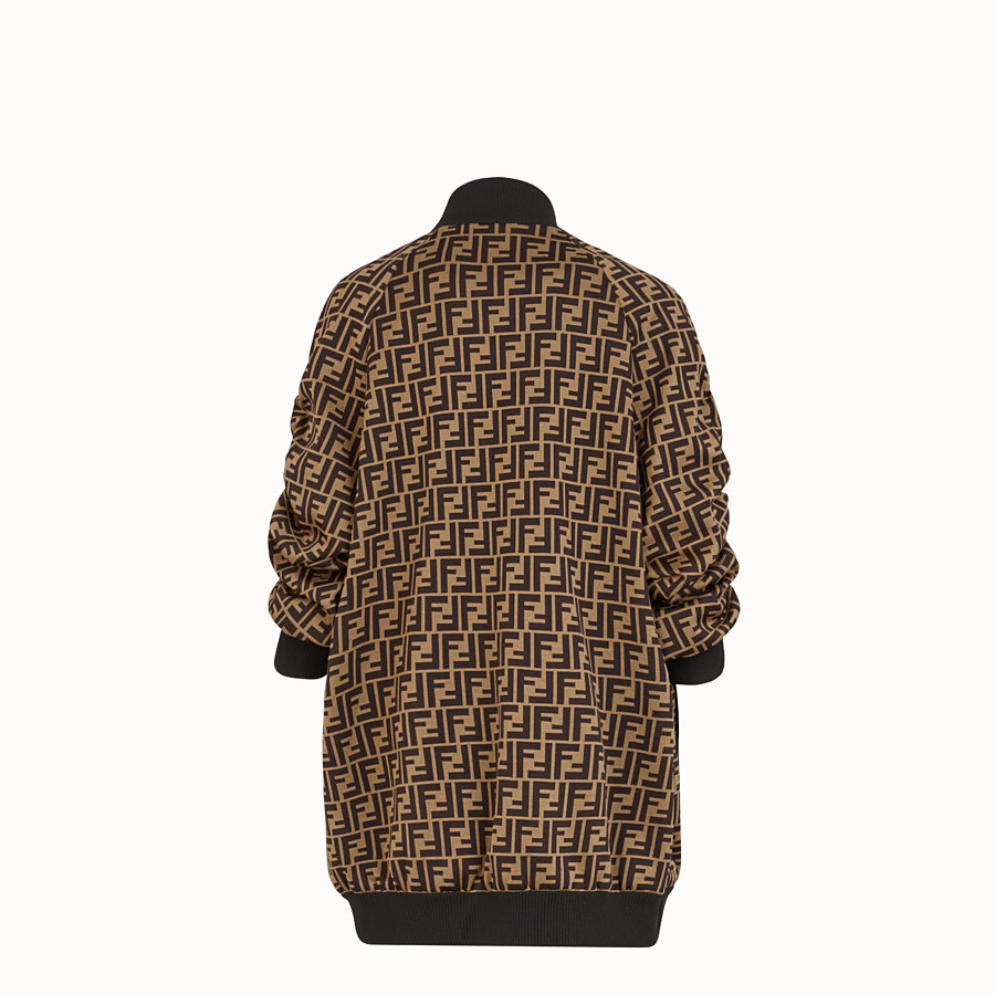 FENDI BOMBER - Brown cotton jersey bomber - view 2 detail