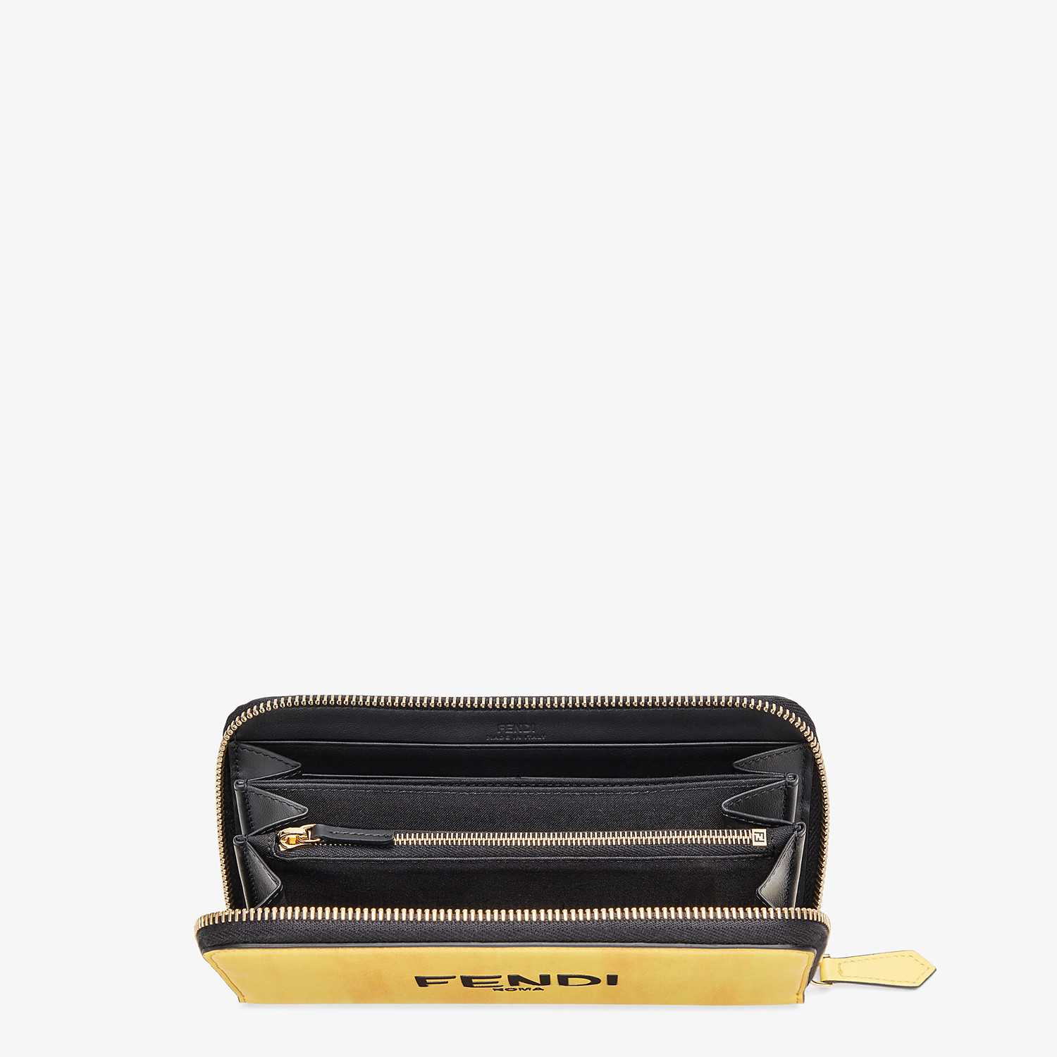 FENDI ZIP-AROUND - Yellow leather wallet - view 3 detail