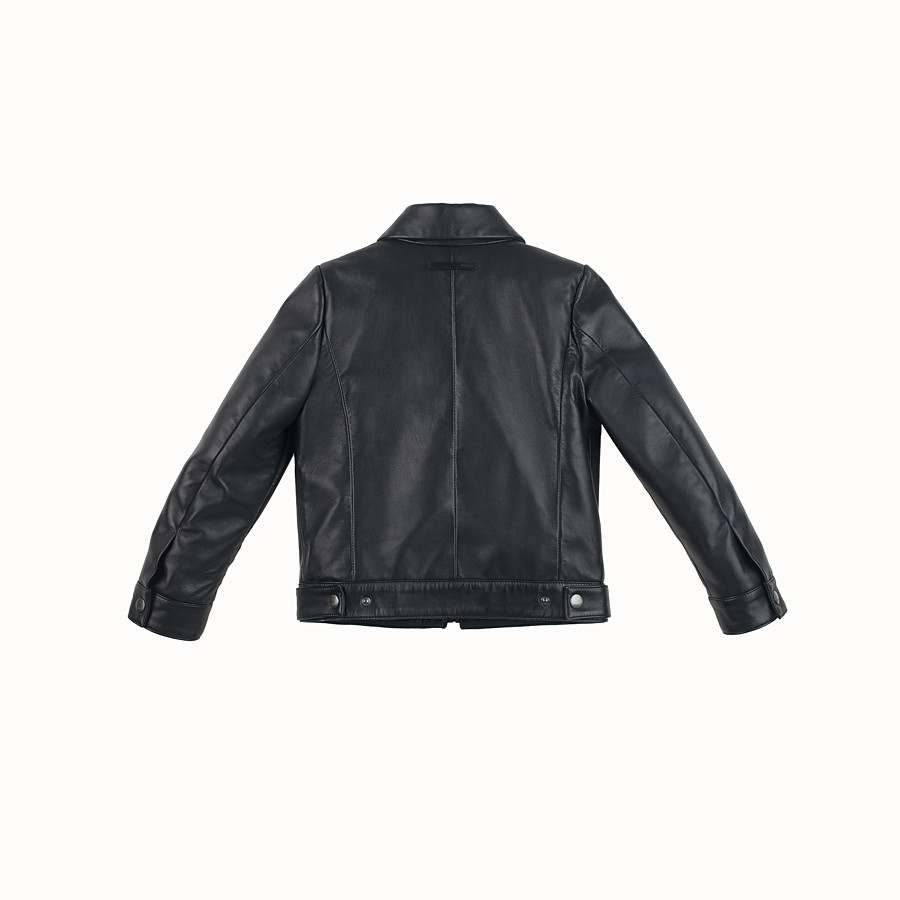 FENDI JACKET - in black and grey leather - view 2 detail