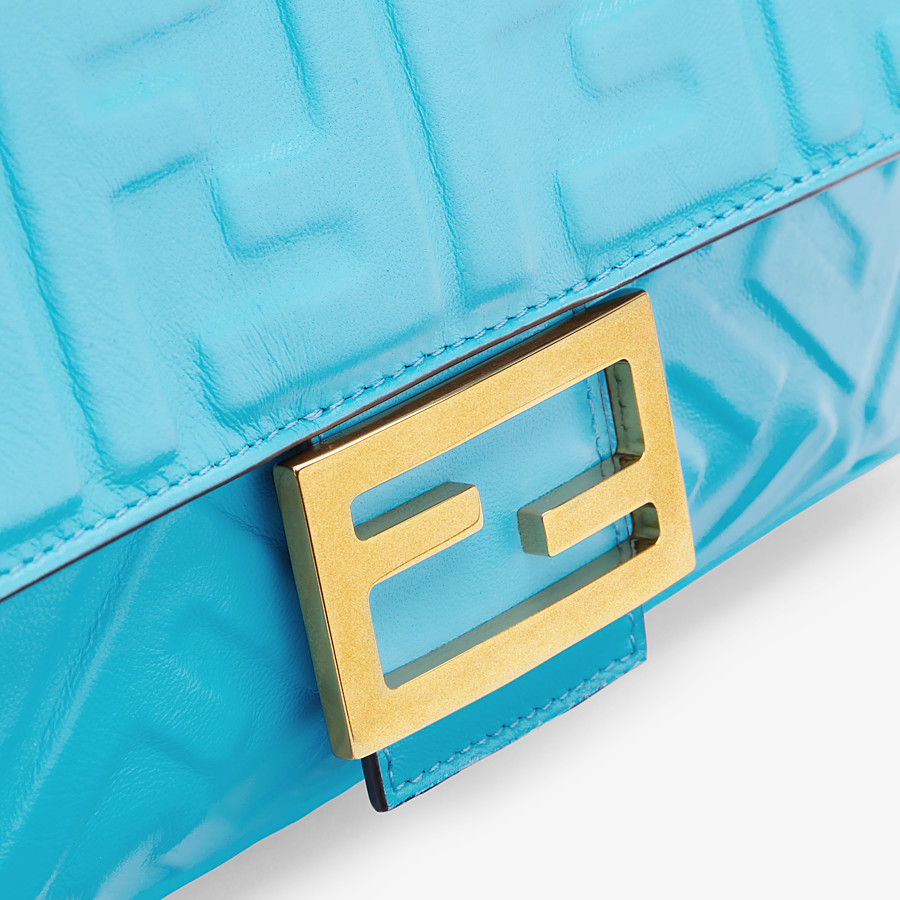FENDI BAGUETTE - Light blue FF Signature nappa leather bag - view 6 detail