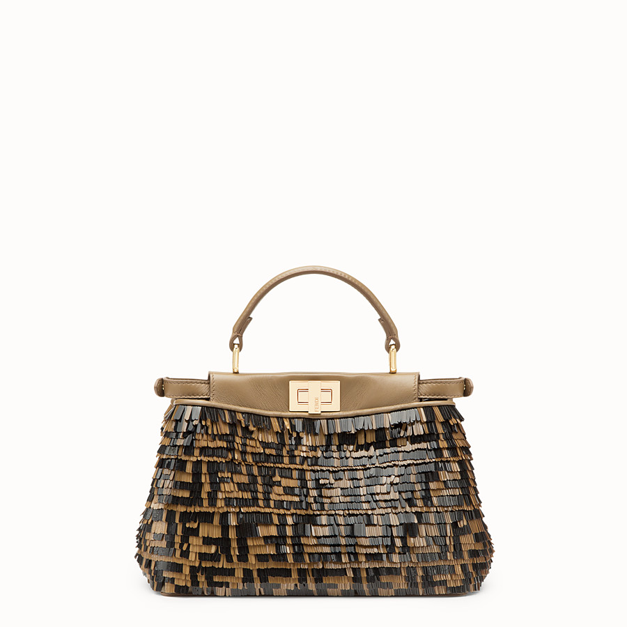 FENDI PEEKABOO MINI - Brown leather bag - view 3 detail