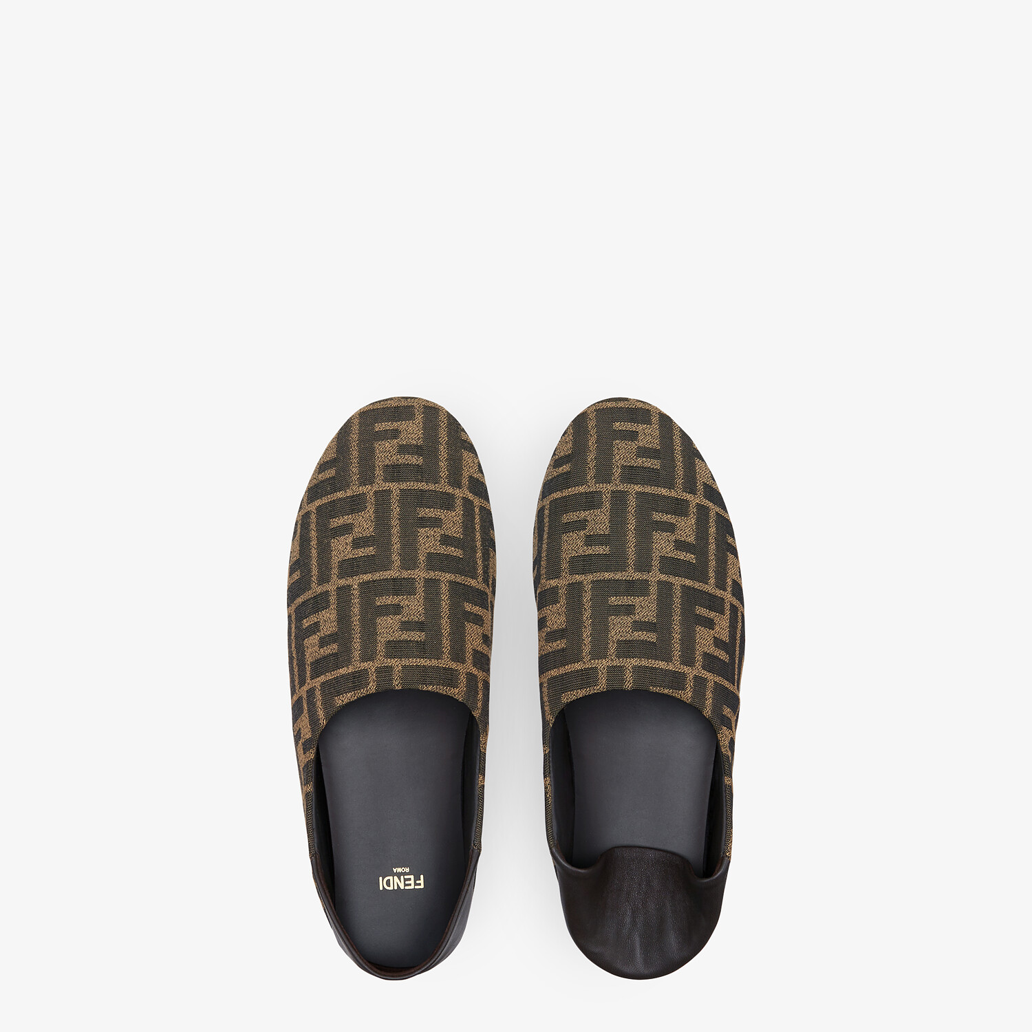 FENDI SLIPPERS - Brown fabric slippers - view 4 detail