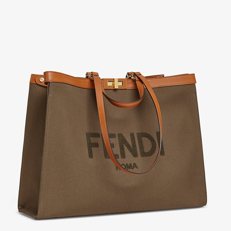 FENDI PEEKABOO X-TOTE LARGE - Green canvas shopper - view 2 detail
