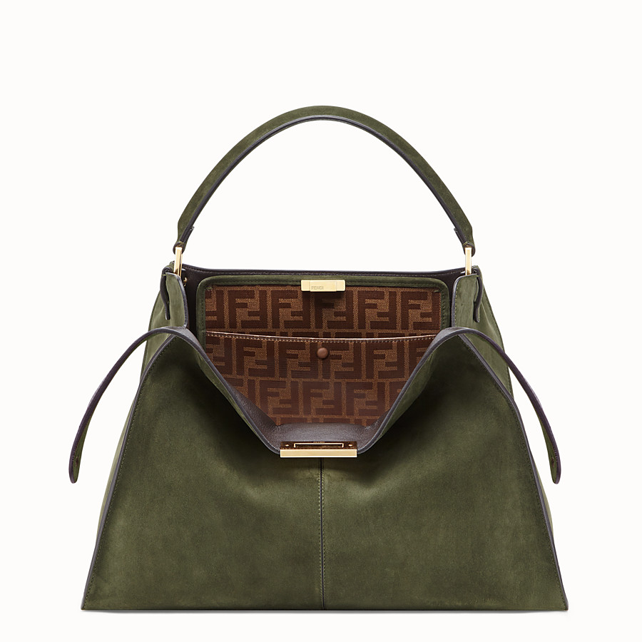 FENDI PEEKABOO X-LITE - Green suede bag - view 1 detail