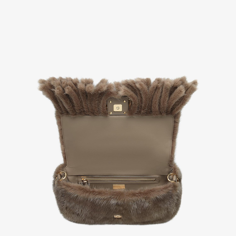 FENDI BAGUETTE - Gray mink bag with fringing - view 5 detail