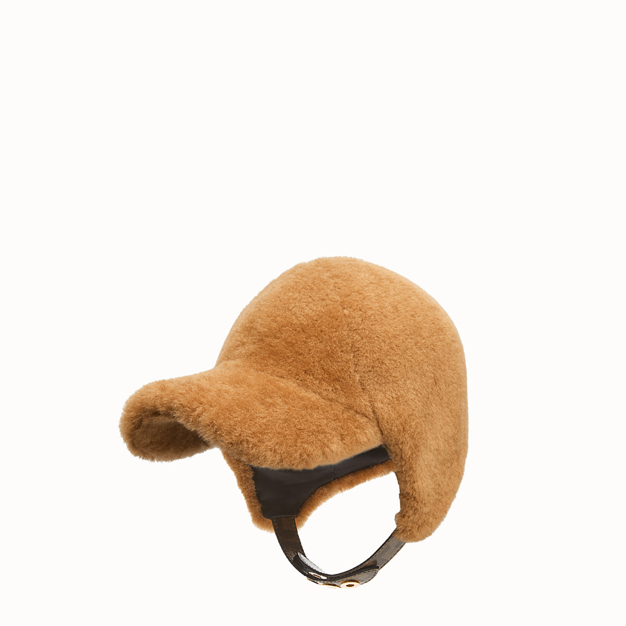 FENDI HAT - Brown shearling hat - view 1 detail