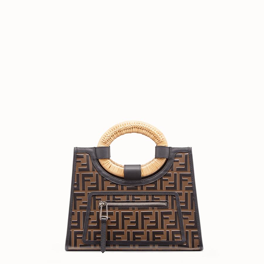 FENDI RUNAWAY SHOPPER - Brown leather small shopper - view 1 detail