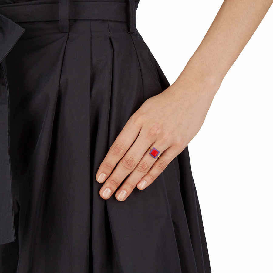 FENDI RAINBOW RING - Ring in metal and two-tone stone - view 2 detail