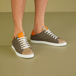 FENDI SNEAKERS - Multicolour canvas and leather low-tops - view 5 thumbnail