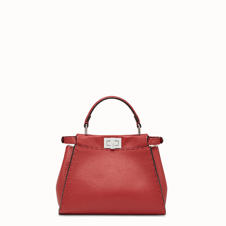 FENDI PEEKABOO MINI - Red leather bag - view 3 detail
