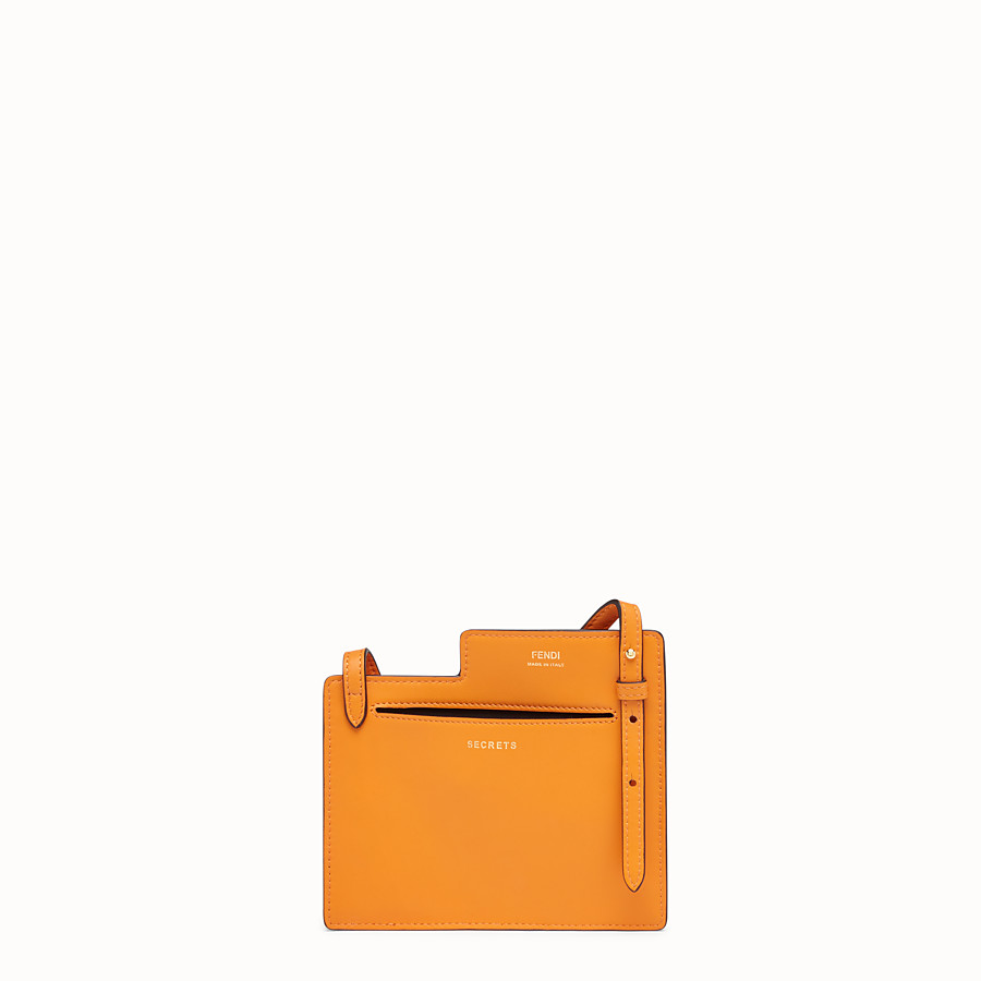 FENDI 2 POCKETS MINI BAG - Orange leather messenger - view 3 detail
