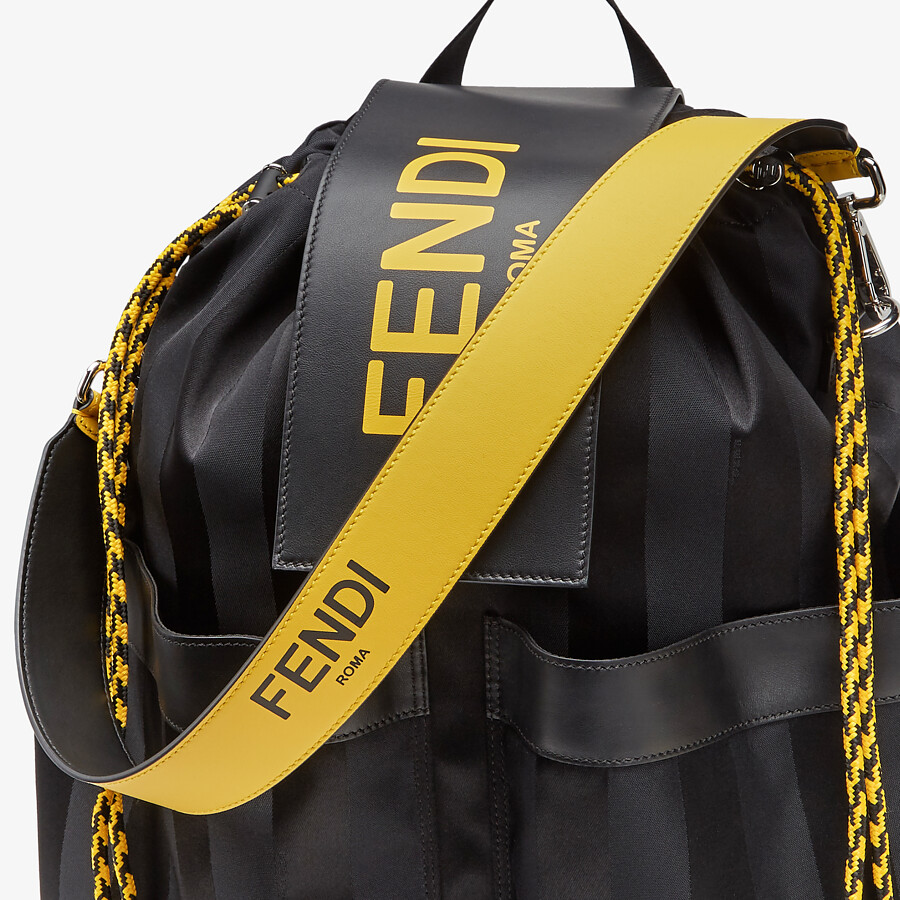 FENDI DRAWSTRING BACKPACK - Black nylon backpack - view 4 detail