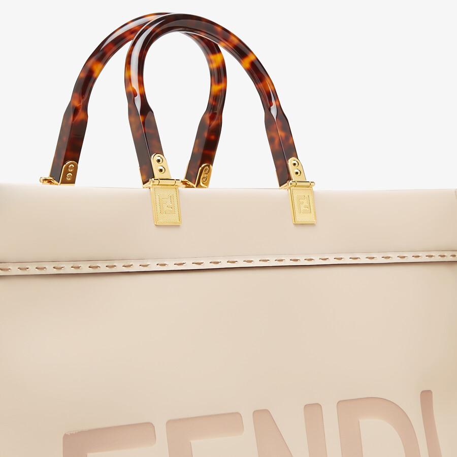 FENDI LARGE FENDI SUNSHINE - Pink leather shopper - view 5 detail