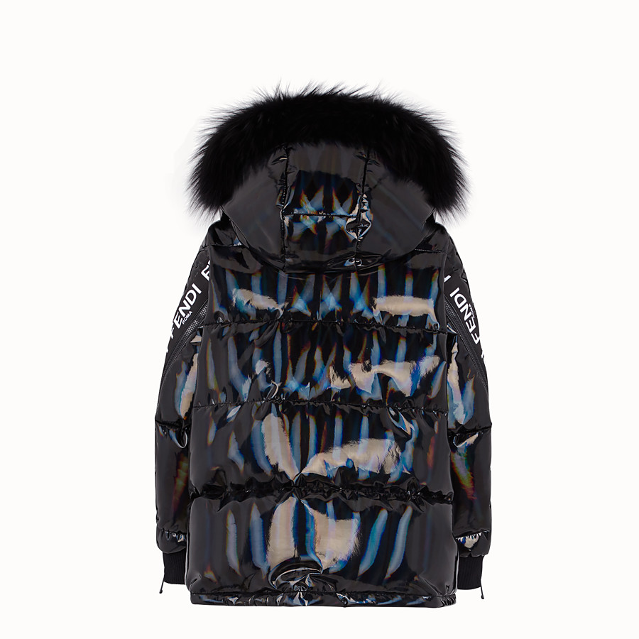 FENDI DOWN JACKET - Black nylon down jacket - view 2 detail