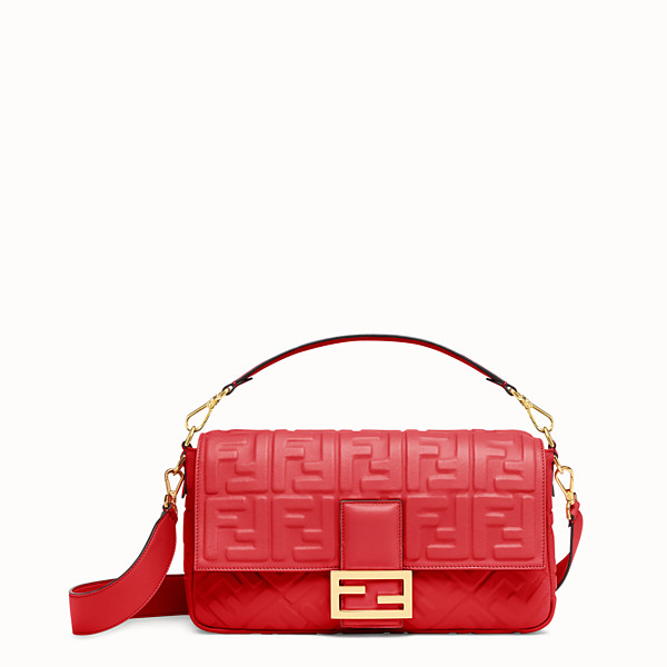 FENDI BAGUETTE LARGE - Red leather bag - view 1 small thumbnail
